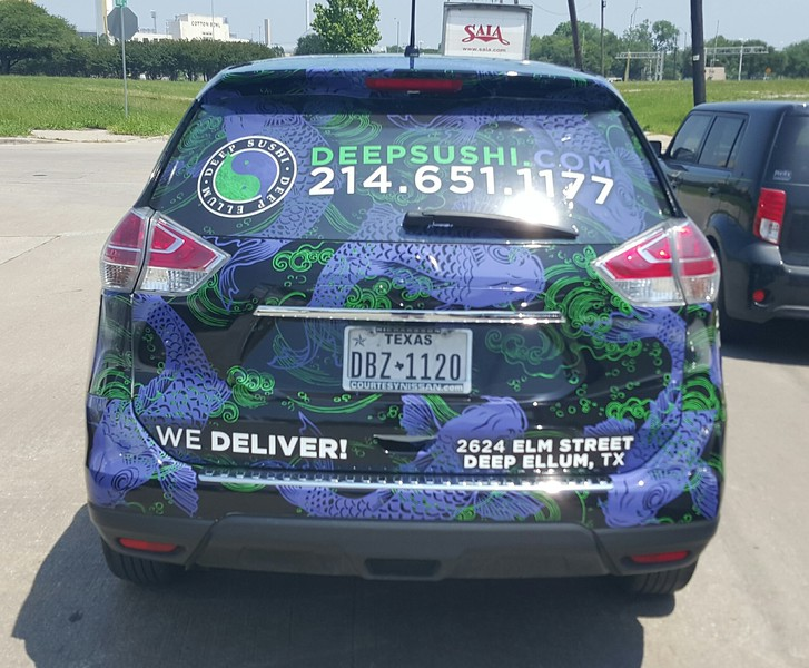 Custom full SkinzWrap on a 2015 Nissan Murano for Deep Sushi, Dallas, TX