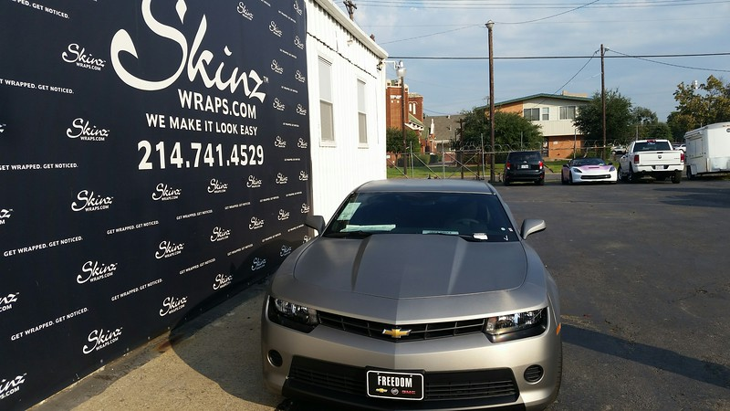 2015 Chevy Camaro with a Brushed Titanium wrap