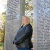 Resident Karen Haywood is fundraising to bring Wreaths Across America to town for the first time to place wreaths on every veteran gravestone in Chelmsford. It's a big task if she wants to make it happen in time for the holidays. She stands among Chelmsford veteran's names at the Chelmsford Veterans Memorial Park as she talk about her project. SUN/JOHN LOVE