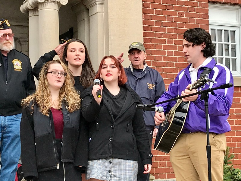 Students from Shawsheen Tech sang during the ceremony. Photo by Mary Leach