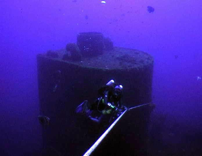 Craig Callen on his Meg ascends from stack of Tanker