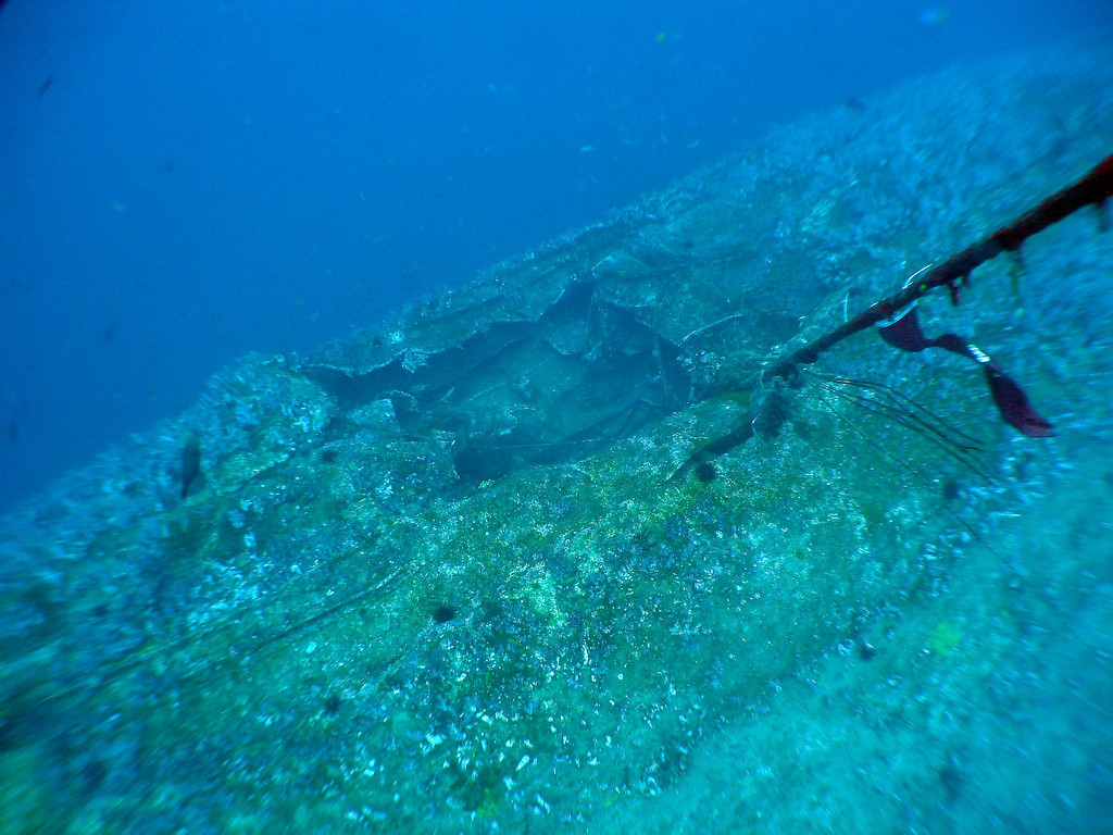 One of the torpedo holes that killed her serves as a convenient place to tie off