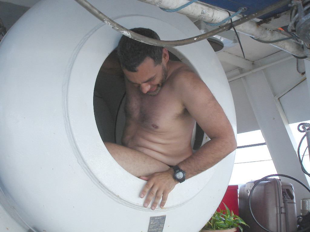 Craig checks out the on-board chamber before patient goes in