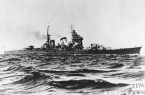 Haguro was found laying upright in 68m of water