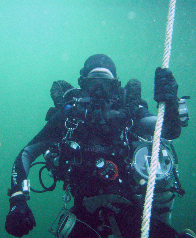 Can you spot my axe?  Vital piece of tech diving gear.