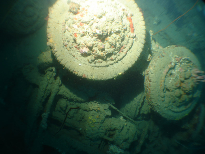 Remains of army truks that spilled out of hold 2 when the ship sank