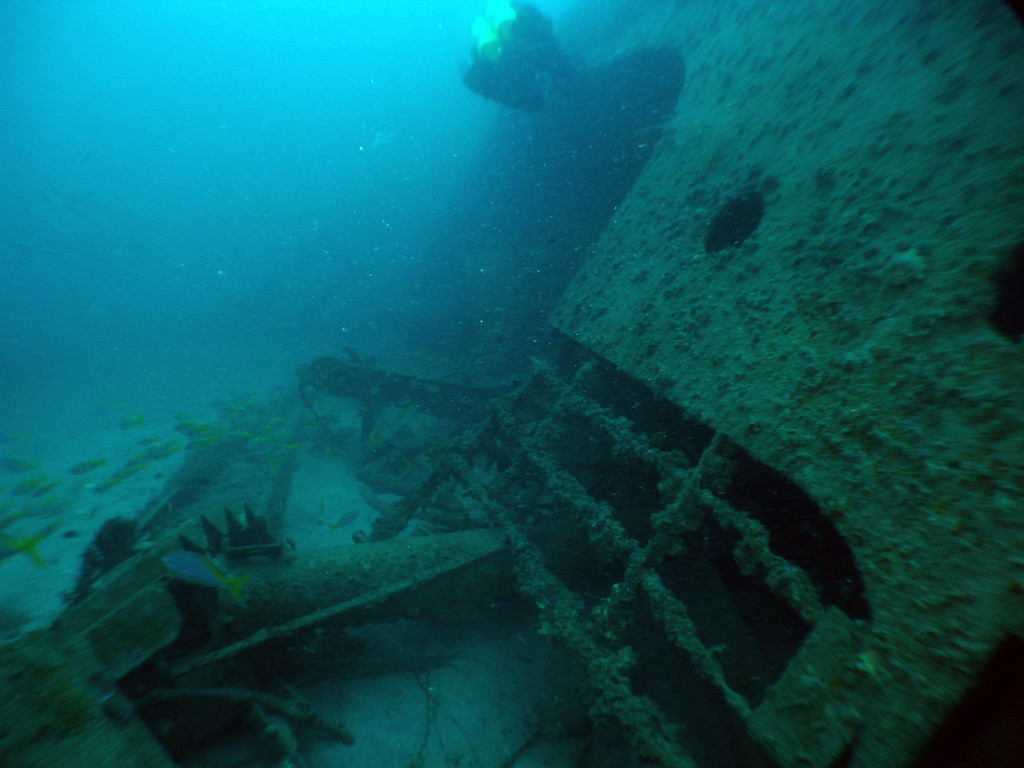 Superstructure of Campinila resting on the sea bed