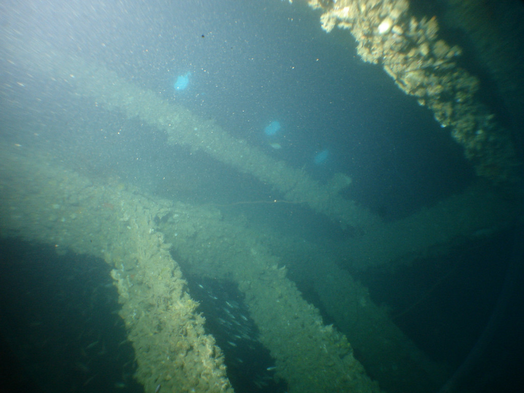 Inside one of the cargo holds