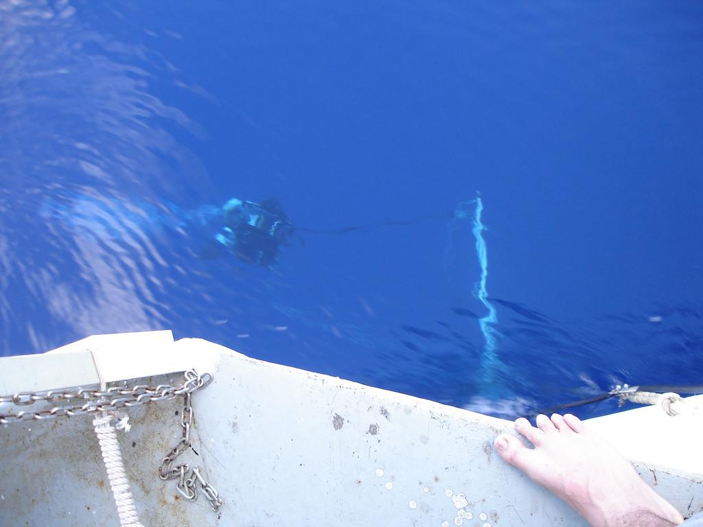 Divers being observed during deco on deco platform