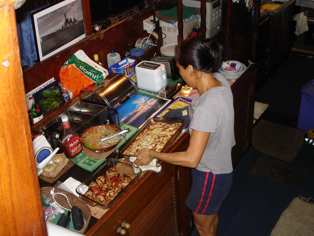 Alice preparing dinner