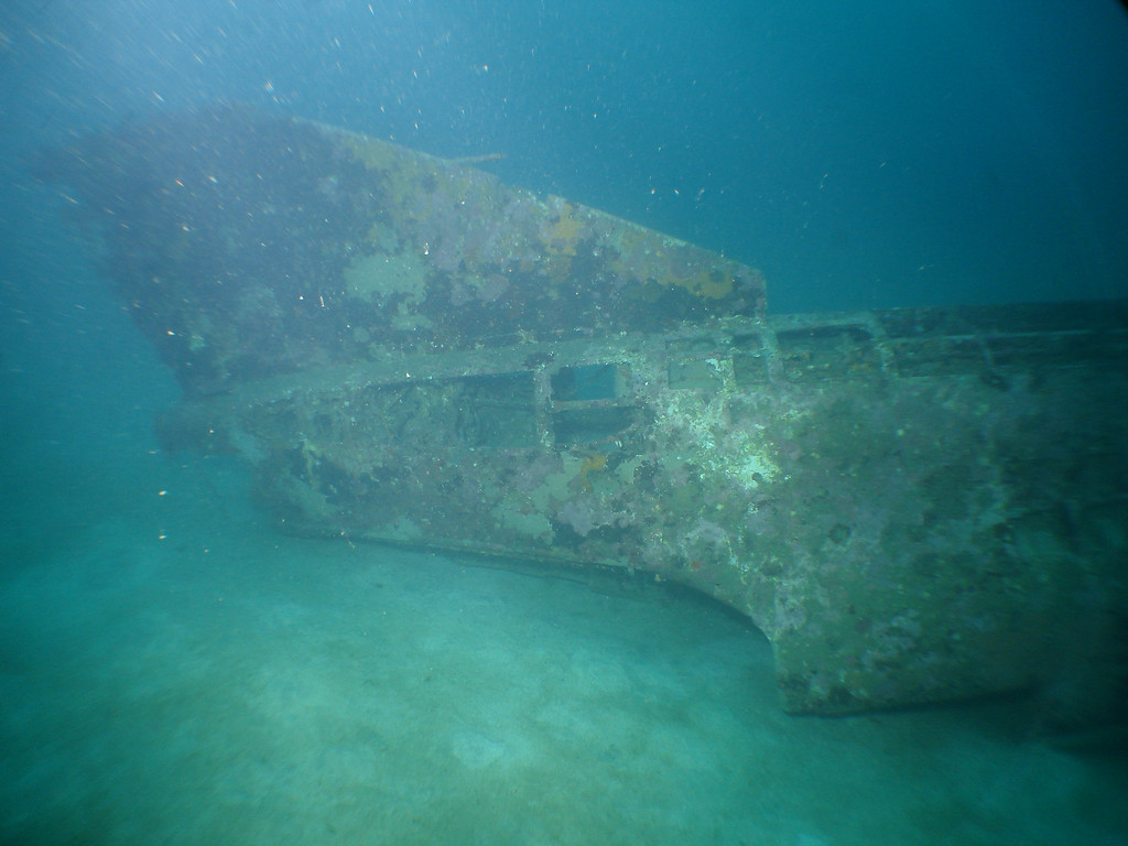 Tail of B26 Bomber wreck in 45m