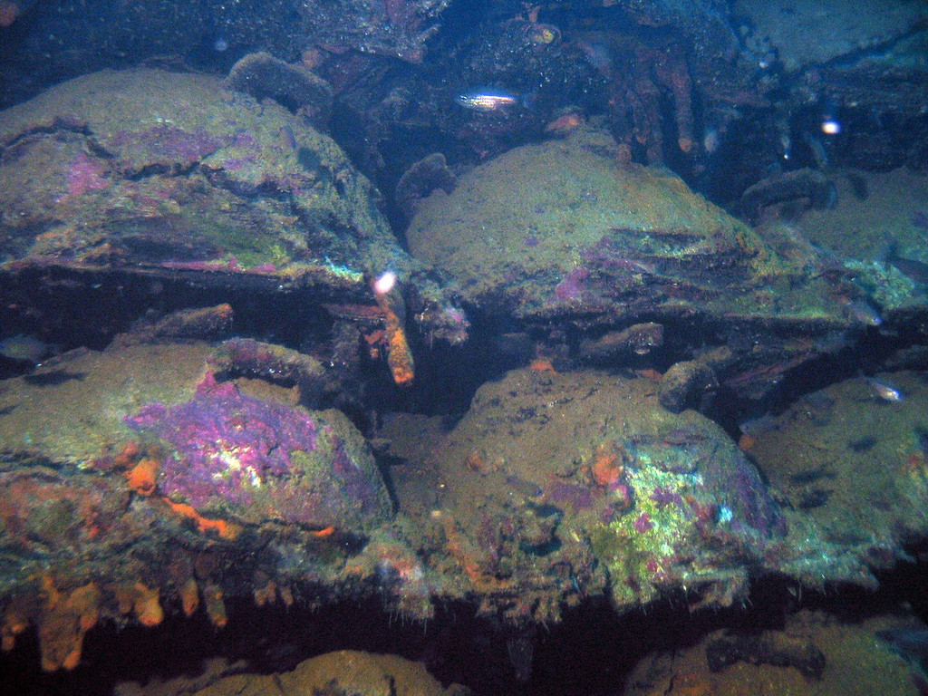 Forward hold of San Fransico Maru full of live beach mines