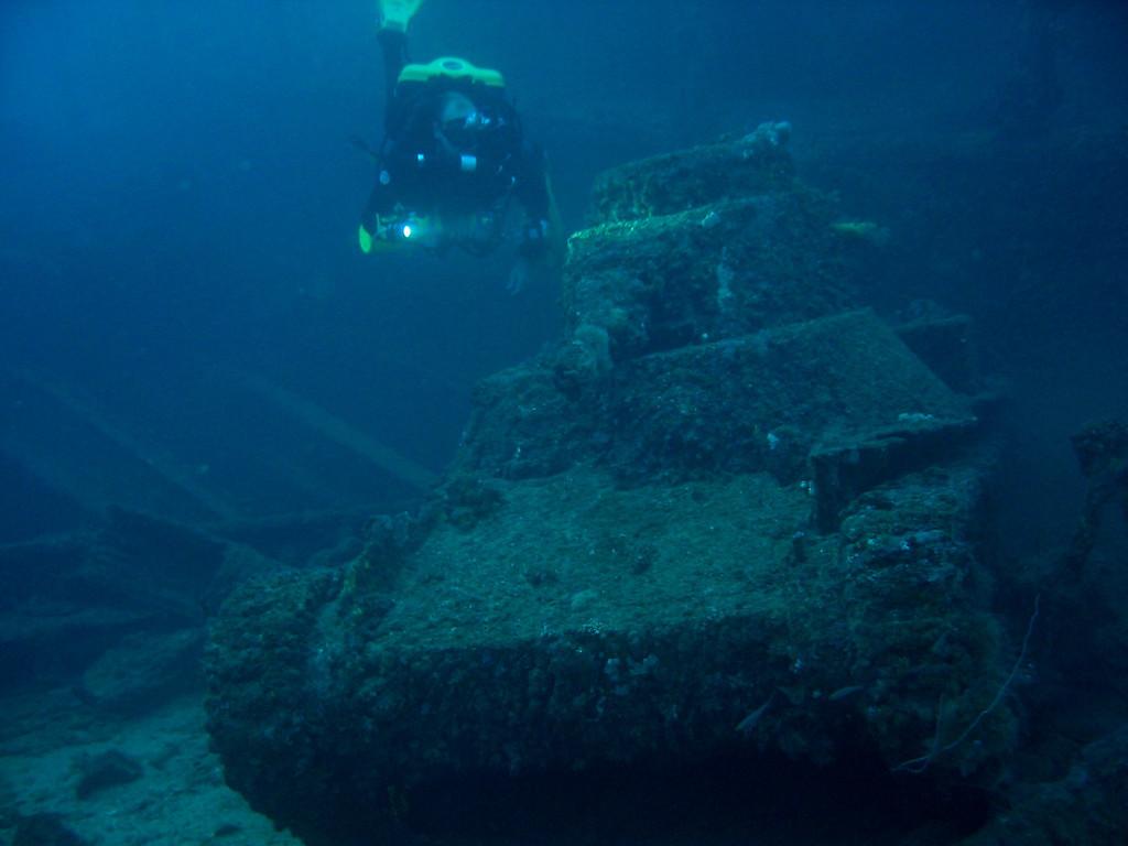 Me and John Garvin investigate Japanese Tanks on the deck of San Francisco Maru