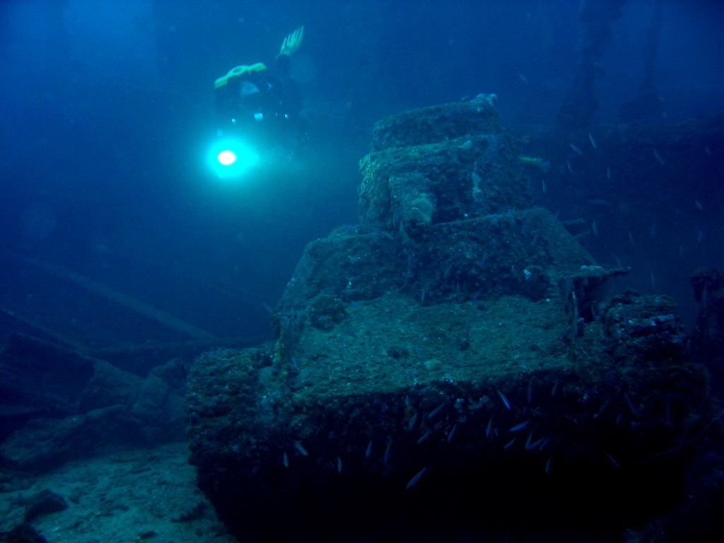 Me and John Garvin investigate Japanese Tanks on the deck of San Francisco Maru - 55m