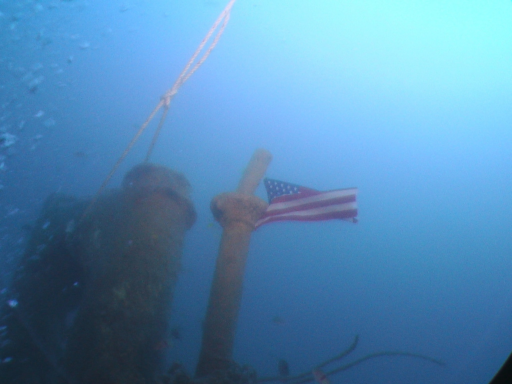 Memorial flag we tied to top of tower