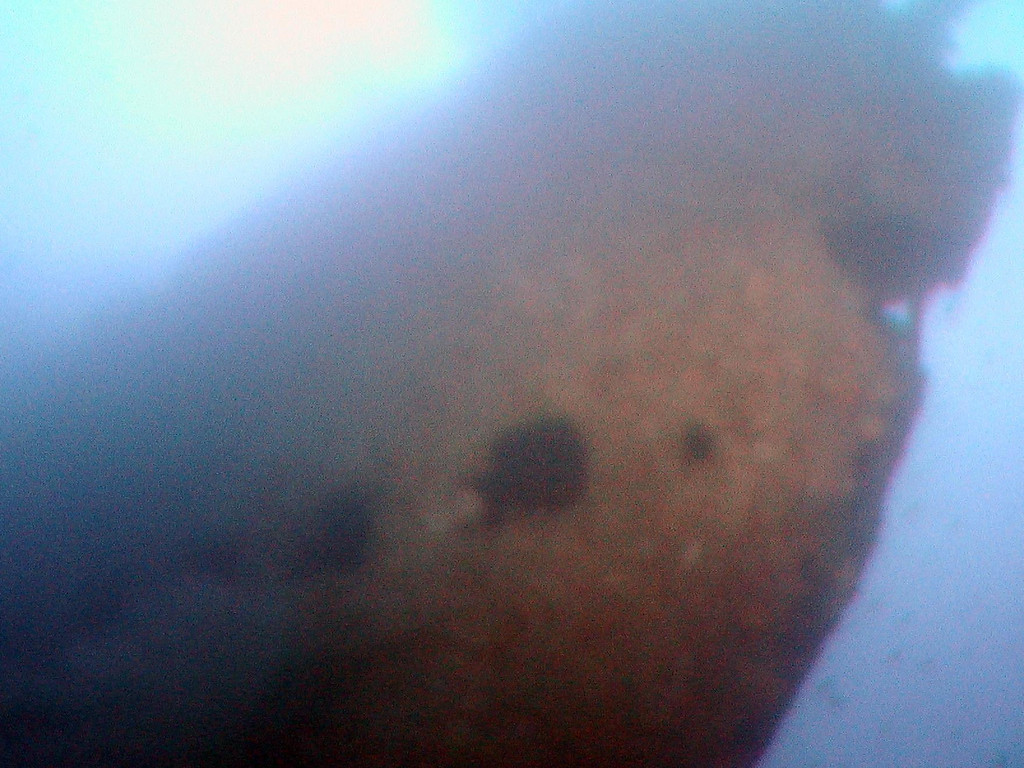 View looking at the vent holes at bow of the submarine