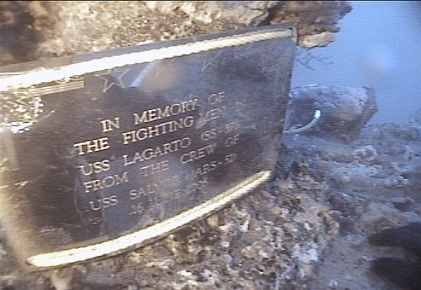 UPDATE: 060616-N-0000M-001<br /> Gulf of Thailand (June 16, 2006) - A plaque placed on the aft capstan of the wreckage in the Gulf of Thailand believed to be that of World War II submarine USS Lagarto (SS 371) is seen in this screen grab of video. Divers from USS Salvor (ARS 52) conducted six-days of diving to positively identify USS Lagarto as part of the Thailand phase of the exercise Cooperation Afloat Readiness and Training, or CARAT. Divers will send photographs and video of the submarine to the Naval Historical Center in Washington for further analysis. CARAT is an annual series of bilateral maritime training exercises between the United States and six Southeast Asia nations designed to build relationships and enhance the operational readiness of the participating forces. U.S. Navy photo by Senior Chief Navy Diver Michael Moser (RELEASED)