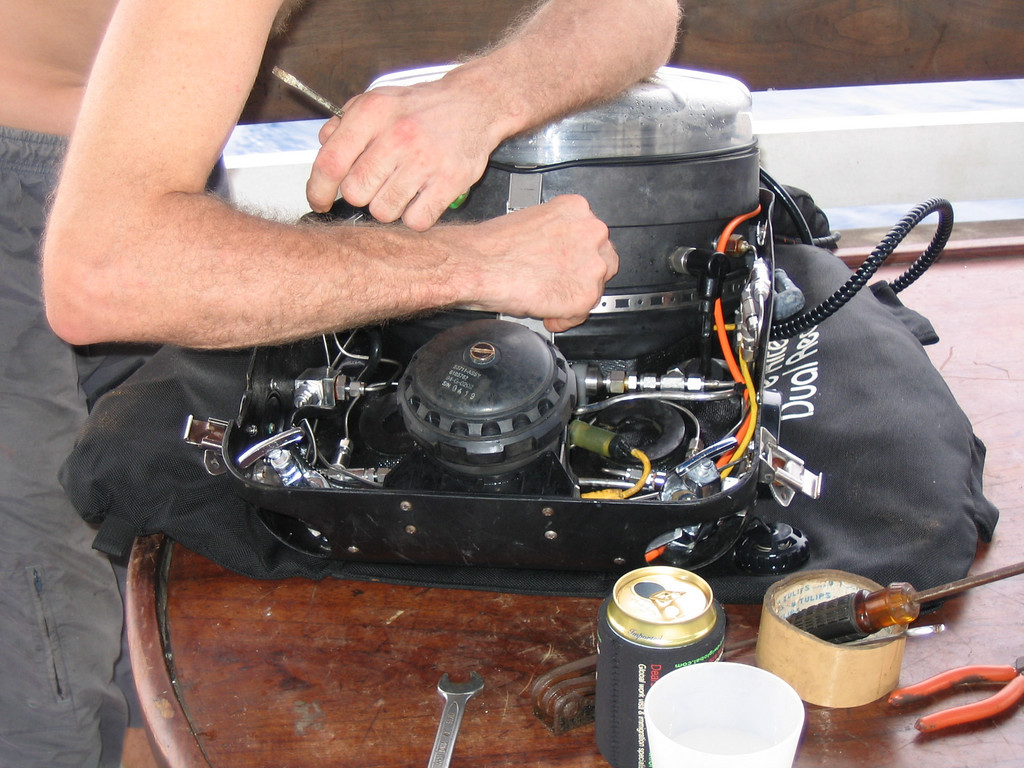 Fixing the solenoid  - with beer close at hand