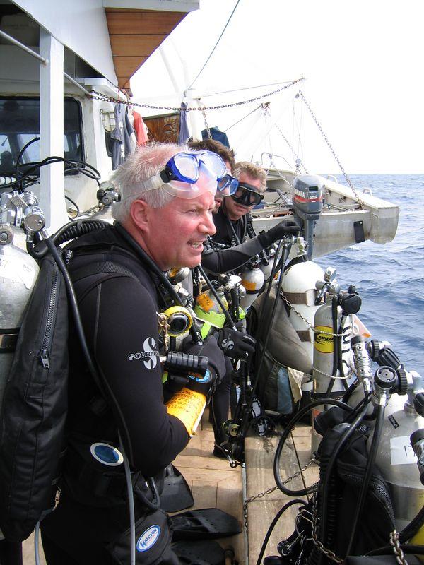 Bill doing his pre dive Maori chant
