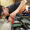 The Leominster Library University Jr. program held a Wreck the Tech program on Saturday, January 12, 2019. During this tech take apart party, kids where able to explore and take apart keyboards, desk phones, VCRs, one small Herbie VW bug & more! This is a great opportunity to figure out how things are put together and how they work. Luca Puglisi, 10, takes apart an old computer during the program. SENTINEL & ENTERPRISE/JOHN LOVE