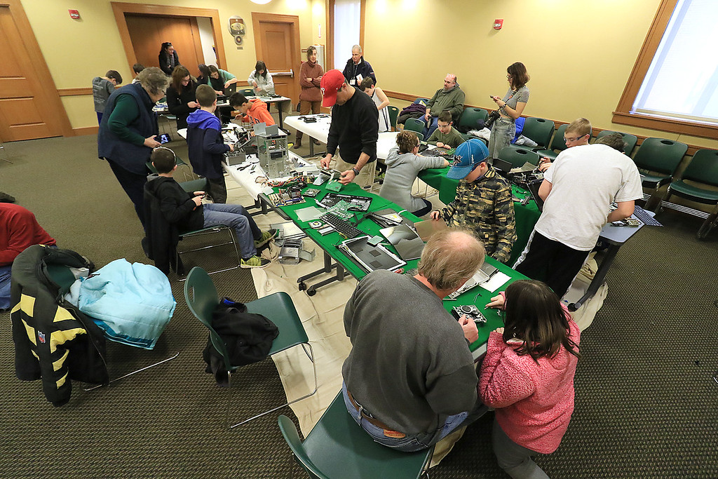 . The Leominster Library University Jr. program held a Wreck the Tech program on Saturday, January 12, 2019. During this tech take apart party, kids where able to explore and take apart keyboards, desk phones, VCRs, one small Herbie VW bug & more! This is a great opportunity to figure out how things are put together and how they work. SENTINEL & ENTERPRISE/JOHN LOVE