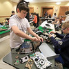The Leominster Library University Jr. program held a Wreck the Tech program on Saturday, January 12, 2019. During this tech take apart party, kids where able to explore and take apart keyboards, desk phones, VCRs, one small Herbie VW bug & more! This is a great opportunity to figure out how things are put together and how they work. Ethan Mallinson, 12, and Diesel Whotten, 12, work on taking some items apart during the program. SENTINEL & ENTERPRISE/JOHN LOVE