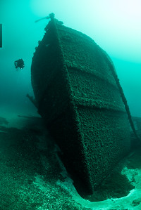Grecian, 296 foot Steel Freighter built in 1891 hit a rock and sank  near De Tour, Michigan June 1906, refloated and towed back to Detroit for repair, sank again 8 days later permenantly.