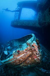 Empty lifeboat below the Salem Express ferry