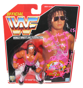 Bret Hart Autographed WWF Hasbro (Red Card) Series 8 Figure