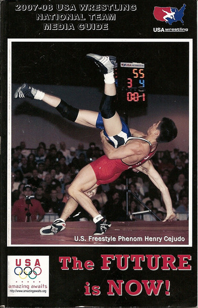 American Henry Cejudo in winning throw is captured and placed on the cover of the 2007-2008 Media Guide published by USA Wrestling.<br /> - photo by Duncan Heath