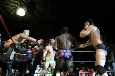 Ryan Rush, Francis Kip Stevens, Milk Chocolate (Brandon Watts & Randy Summers) def Stockade, Blake Morris, Rex Lawless, Jesse Vane at Beyond Wrestling Uncomfortable