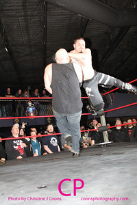 """The Bulldozer"" Matt Tremont beat The Nation of Intoxication's Danny Havoc in a Barbed Wire Boards match"