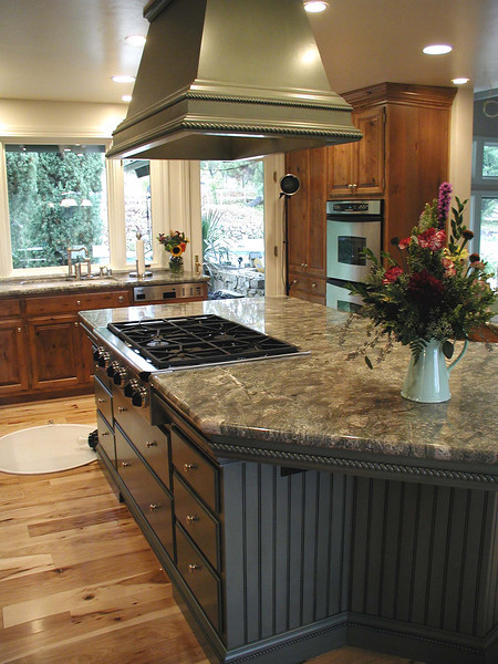 "Custom painted cabinets are part of this gourmet kitchen in South Nevada County.  <a href=""http://www.wrightbuilt.biz"">http://www.wrightbuilt.biz</a>"