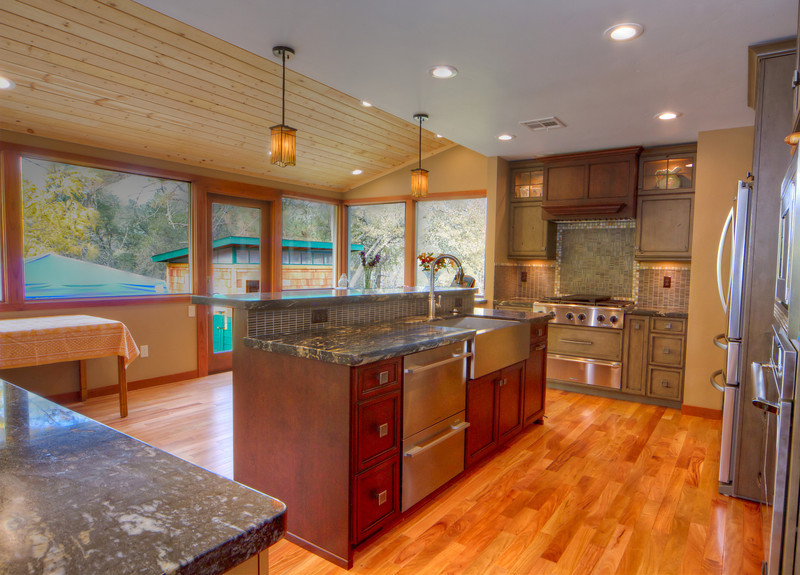 "Penn Valley addition and kitchen remodel with island and three cooking centers.<br /> <br />  <a href=""http://www.wrightbuilt.biz"">http://www.wrightbuilt.biz</a>"