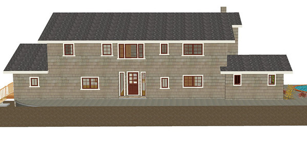Master Suite addition, Sunroom Option #2.  Front overview