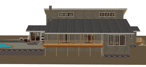 Rear elevation, Sunroom Option #1, also Master Suite visible on left