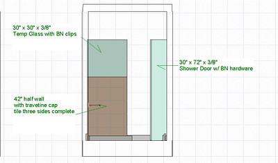 Shower wall elevation