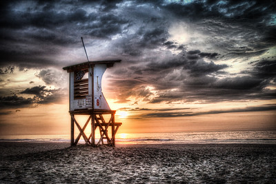Lifeguard stand sunrise photo wrigthsville beach