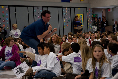 REDONDO BEACH , CALIFORNIA — Alta Vista Elementary's Young Writer's Conference. Shown here is Anthony Vultaggio's Keynote speech. Photo by Tom Sorensen, Friday March 27th, 2009.