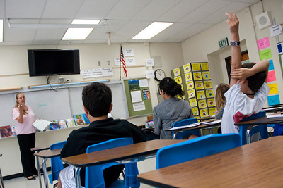 BEVERLY HILLS, CALIFORNIA — Young Writers' Conference at El Rodeo Elementary. Shown is a session with author Q. L. Pearce. Photo taken by Tom Sorensen, Monday May 18th, 2009.
