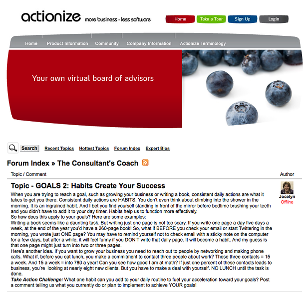 I was a blogger for a company's community forum and wrote under a the banner of being a coach to marketing consultants. Actionize was building a support community for marketing professionals.