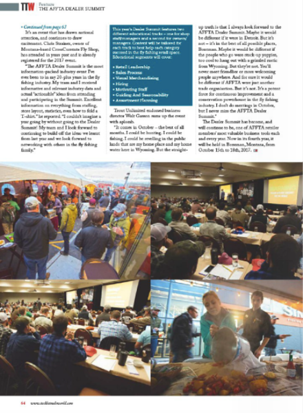 Feature on AFFTA Dealer Summit for U.K. trade publication Tackle Trade World.<br /> <br /> Images + photography.