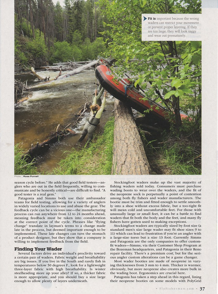 Fly Fisherman magazine, wader tech and industry lead feature.<br /> <br /> Assigned work, November 2016.