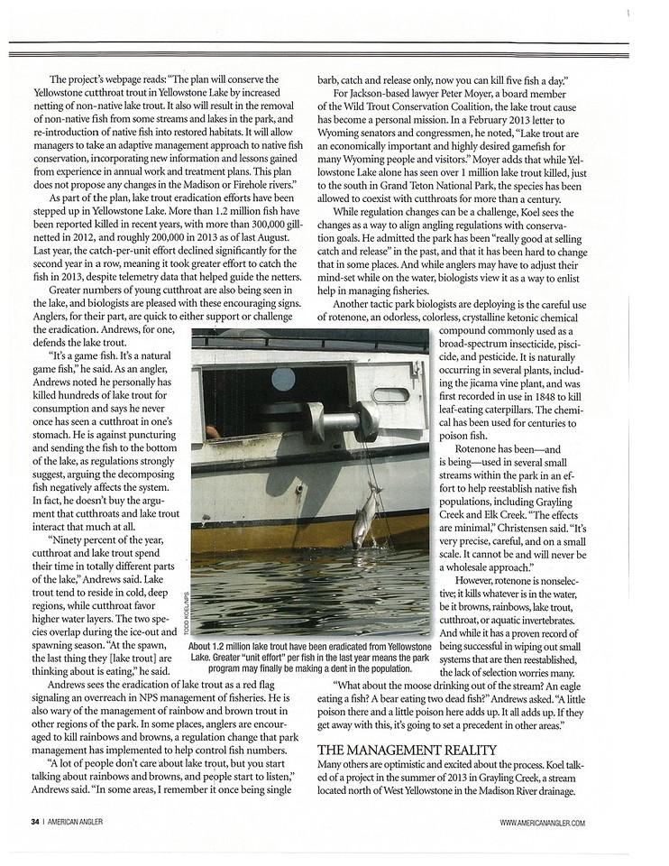 Investigative feature, American Angler, March 2014.