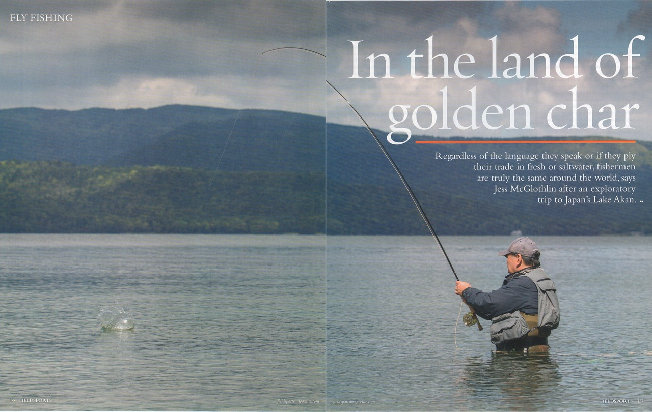 Japan fly fishing expedition feature, writing and photography. Chasing golden char in Lake Akan region, Hokkaido.<br /> <br /> Fieldsports Magazine, U.K.<br /> December 2017.