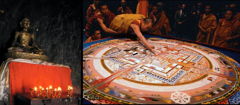 """As I watch the monks meditate on the sacred geography of this land through an enormous mandala they've made from grains of colored sand, I am interested to find that the barrier separating the visible world from the spiritual world within Buddhist mandalas is always a ring of fire. Fire is placed around the perimeter to incinerate """"coarse matter,"""" because entry is denied to the uninitiated. Just beyond this wall of fire, kalachakra deities are supposed to reduce suffering and violence in the world. The only thing standing between this more ideal world and the real world around us is this border of fire.<br /> <br /> But as I look up from the mandala to the landscape around me, I see fires telling conflicting stories. Butter lamps burning in the hands of the Buddhist monks say that the only cause of suffering is ourselves, and that enlightened minds pray for that suffering to end. Meanwhile, Hindu fires rising from heaps of cow shit and corpses in the surrounding villages say that a divine plan itself has caused our suffering, and although suffering will not end, meaning will remain as present in it as God is. Naxalite bombs are sending up their own fires to contradict the first two, saying that it is neither ourselves, nor a divine plan, but other people who cause our suffering, and all the prayers in the world have not been enough to stop them.<br /> <br /> Each soul here seems shaped by the belief that the fires they ignite contain the meeting point of God and man, while their neighbors' fires outline the precise border of God's separation from man. If the history of Bihar is the forked path of fire's touch, then even the air is not exempt from communion. With every breath, history descends from its perch on the breeze to inscribe its words on the pages of my lungs.<br /> <br /> Here they are, all these people, embers of a larger fire grazing some shape in the air I can only imagine from the hieroglyphic play of its fingers."""
