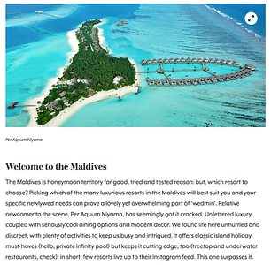 The Maldives for YAYW (Per Aquum is now Niyama Private Islands), 2016