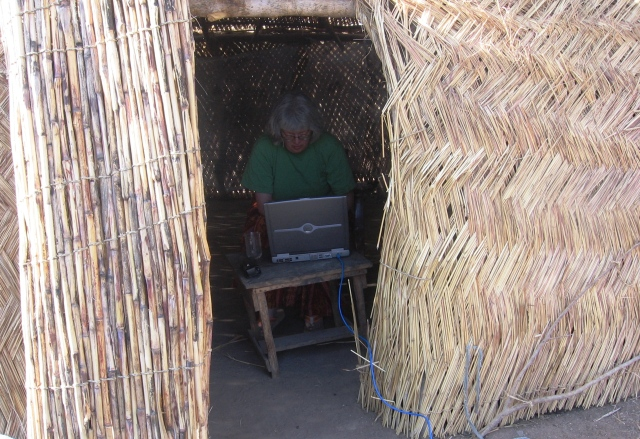 We got everything to work. Lisa is blogging in the shade house.