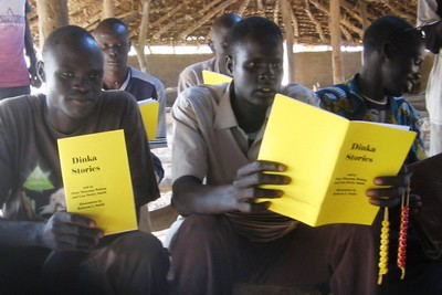 Each teacher got a copy of Dinka Stories. This book of four Dinka folk tales inspired teachers, while we were there, to write their own stories.