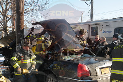 Wyandanch Fire Co. MVA w/ Entrapment  Train vs Car  Straight Path and Long Island Ave. 1/7/15